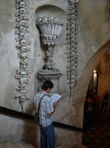 Dusan in the Sedlec Bone Church